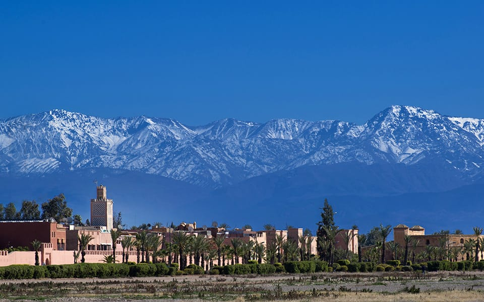 Snowy Atlas mountains from Marrakech