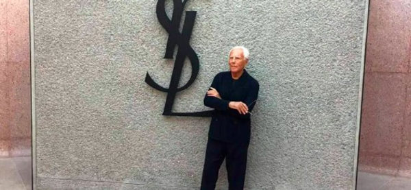 Giorgio Armani in front of Yves Saint Laurent Museum in Marrakech
