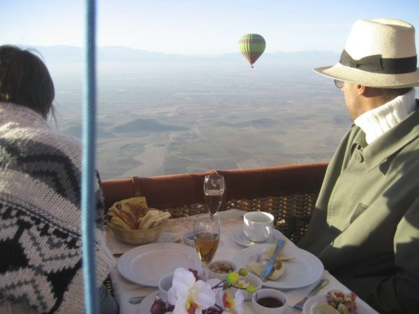 Hot air ballooning over the palm grove of Marrakech